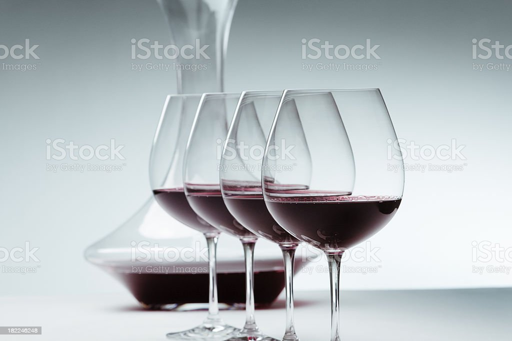 Red Wine in Wineglasses and Decanter Hz royalty-free stock photo