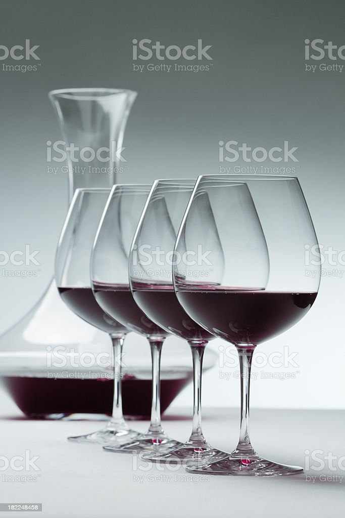 Red Wine in Wineglasses and Decanter Vt stock photo
