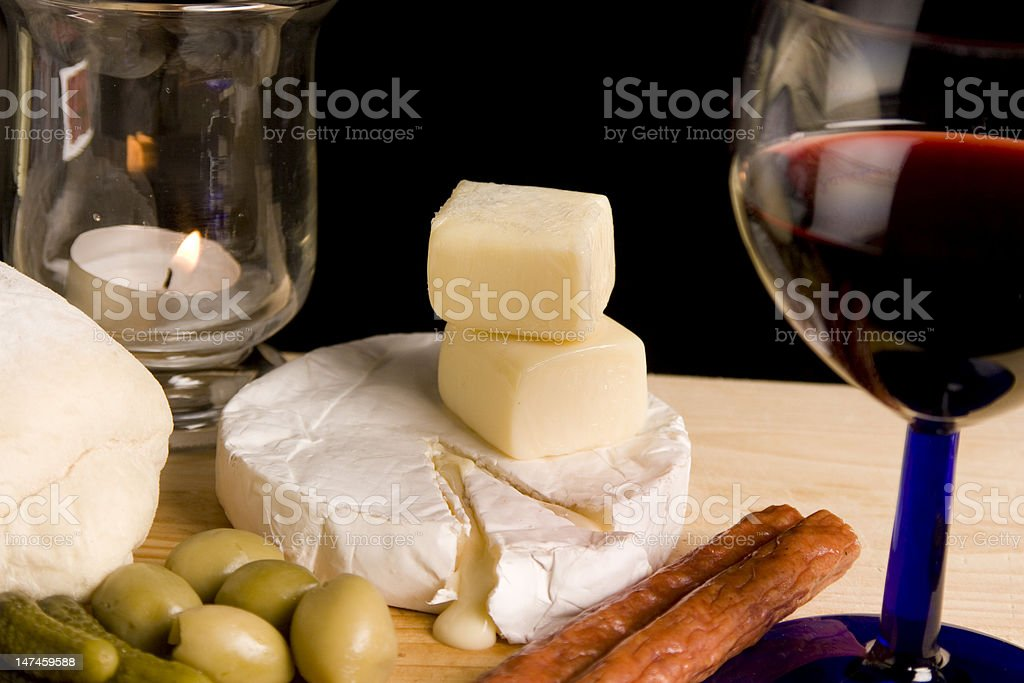 Red Wine, Olives and Cheese royalty-free stock photo