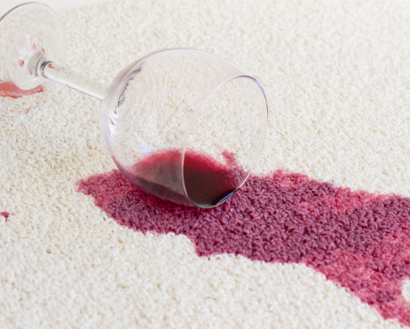 red wine on the carpet
