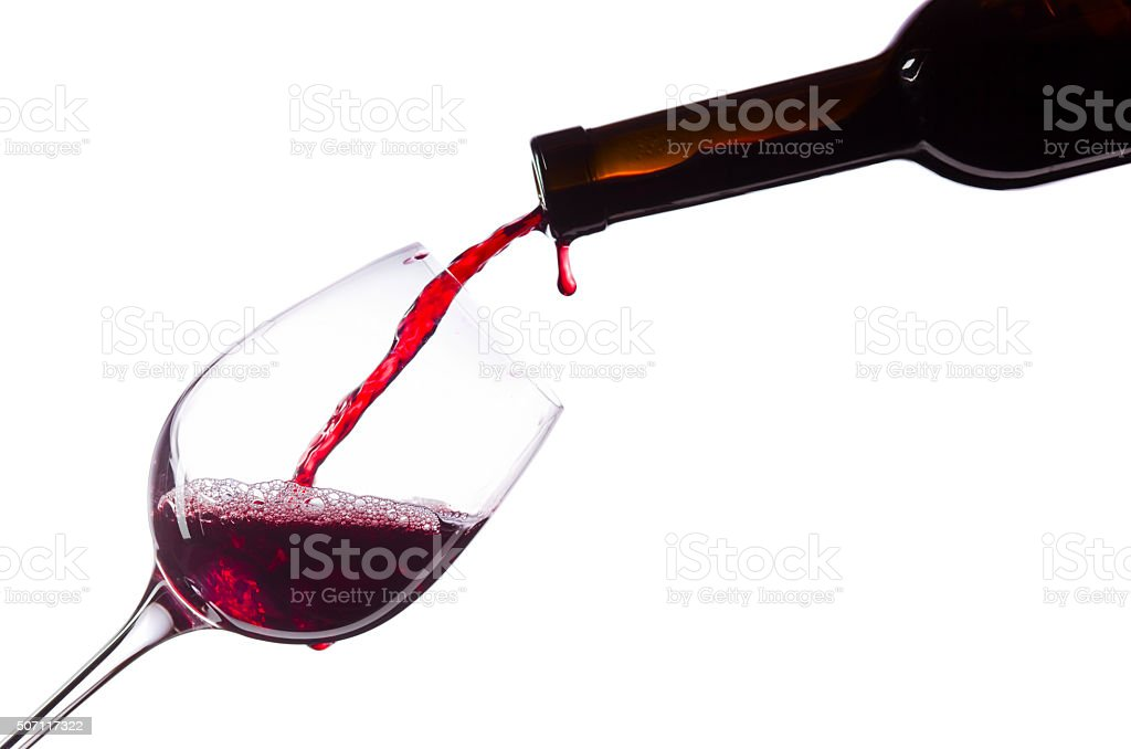 Red wine on white background stock photo