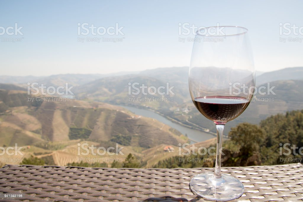 Red wine overlooking the Douro River stock photo