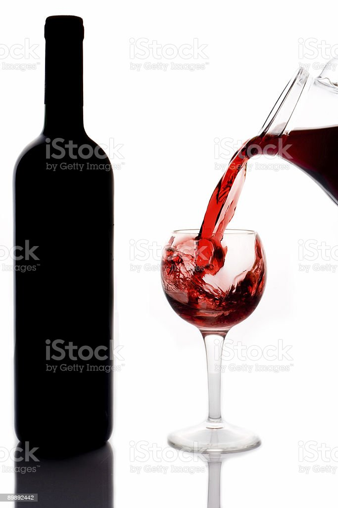 Red wine pouring down royalty-free stock photo