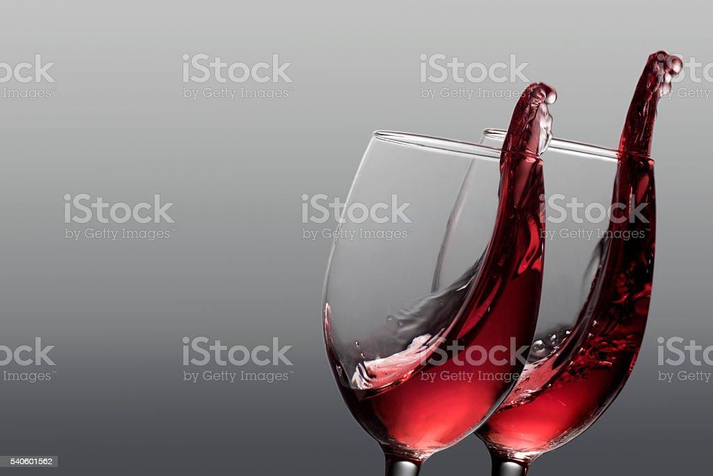 Red wine splashes stock photo