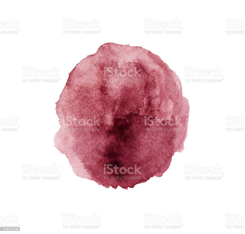 Vin rouge tache isolé sur fond blanc. Pinceau aquarelle grunge de texture réaliste de vin. Marque rouge foncé, aquarelle dessin. - Photo