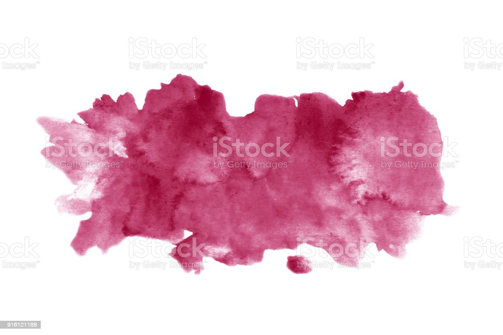 Red wine stain isolated on white background. Realistic wine texture watercolor grunge brush. Dark red mark, watercolour drawing. royalty-free stock photo