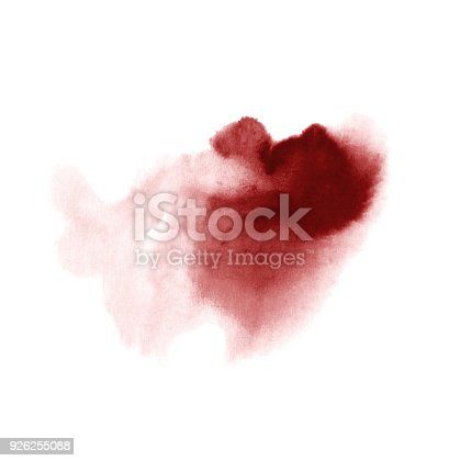 istock Red wine stain isolated on white background. Realistic wine texture watercolor grunge brush. Dark red mark, watercolour drawing. 926255088