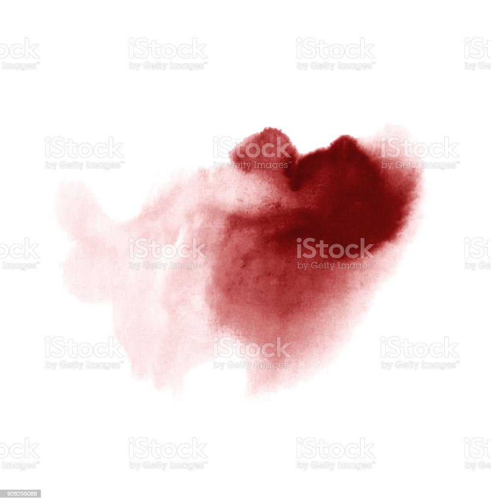 Red wine stain isolated on white background. Realistic wine texture watercolor grunge brush. Dark red mark, watercolour drawing. stock photo