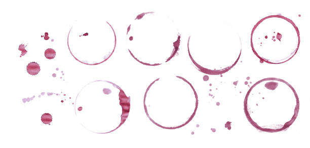 Red wine stain rings isolated on white background stock photo
