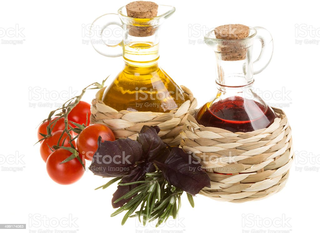 Red Wine Vinegar and sunflower oil royalty-free stock photo