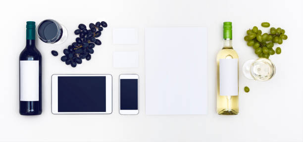 red wine web template header - food logo stock photos and pictures