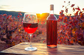 Red wine wine glass wineglass and bottle at sunset in vineyard
