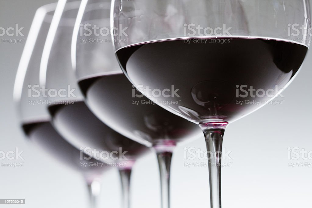 Red Wine Winetasting Glasses in a Row, Alcohol Tasting Close-up stock photo