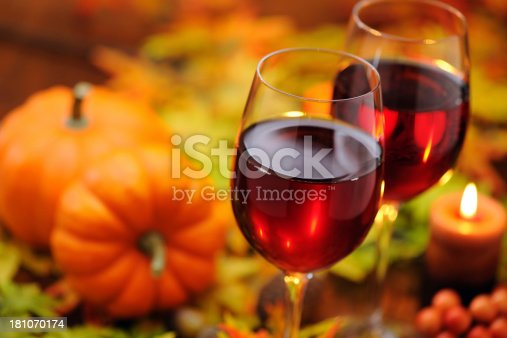 Red wine with autumn decoration  - selective focus - XXXL Image