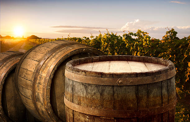 Red wine with barrel on vineyard in green Tuscany, Italy. – Foto
