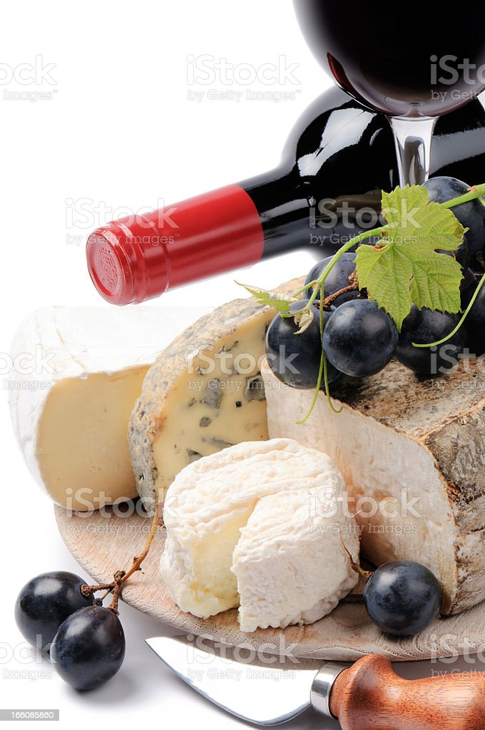 Red wine with French cheese selection royalty-free stock photo