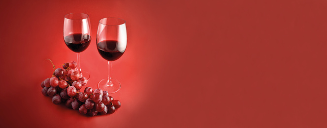 Red Wine With Grapes Banner Stock Images Stock Photo Download Image Now Istock