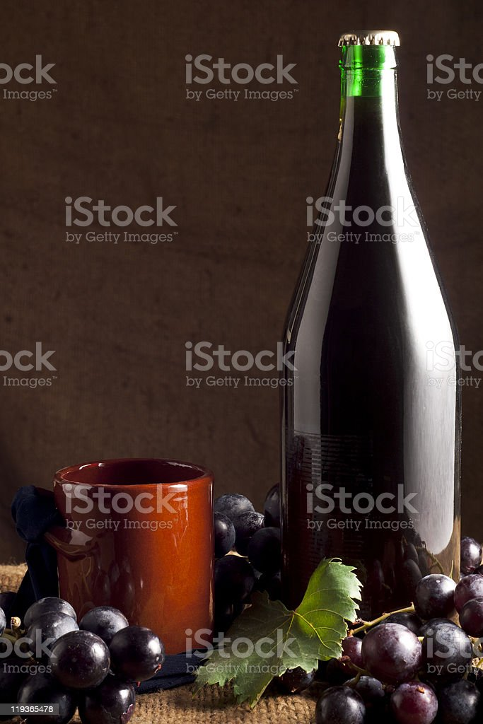 Red Wine with Grapes royalty-free stock photo