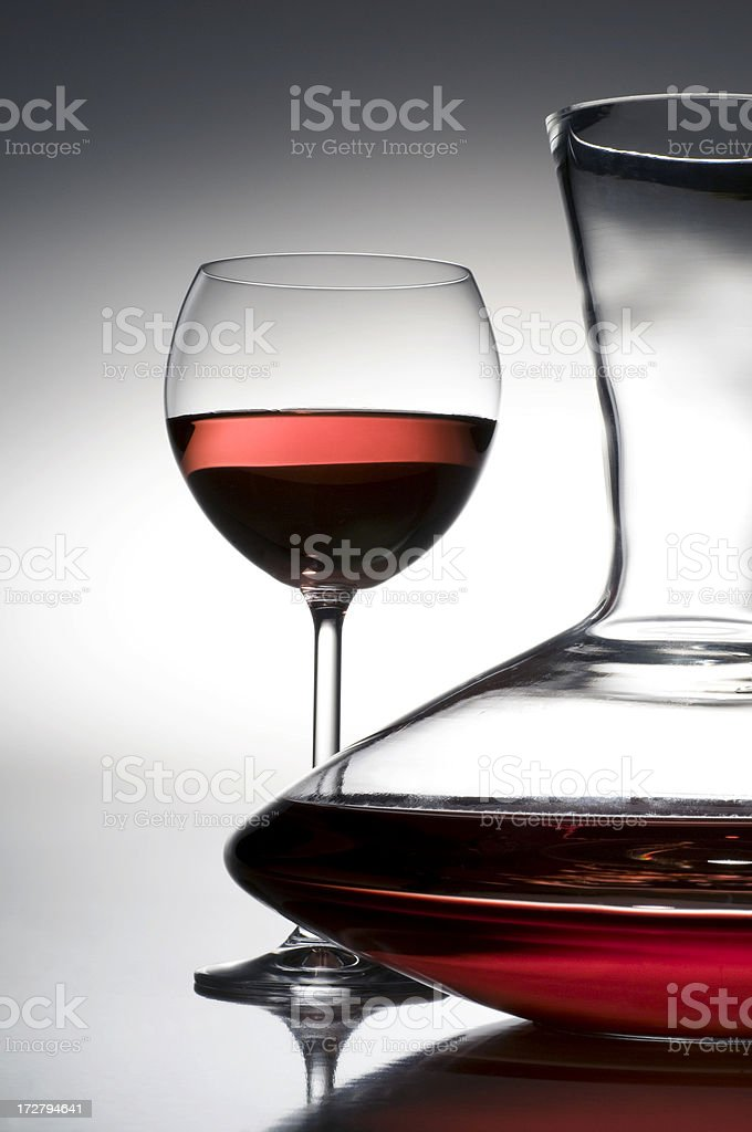 red wine,carafe and wineglass stock photo