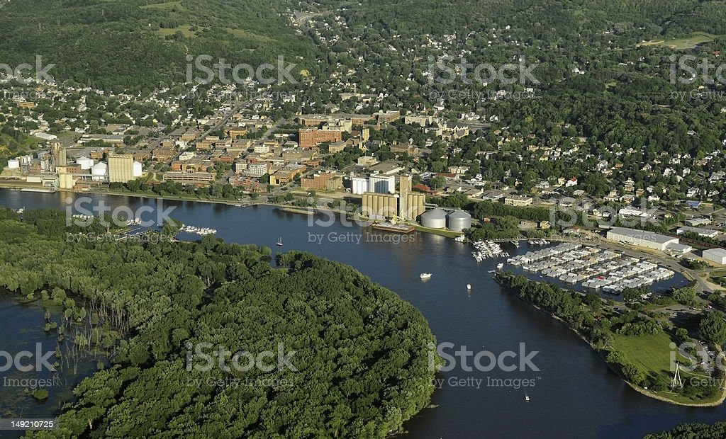 Red Wing, Minnesota - Aerial stock photo