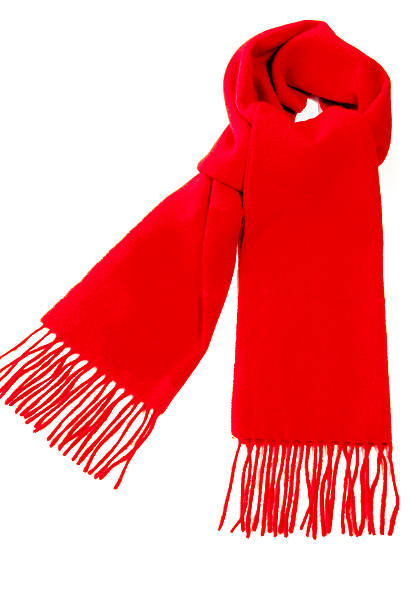 Red Winter Cashmere Scarf Warm red scarf out of pure cashmere wool  isolated on white background. headscarf stock pictures, royalty-free photos & images