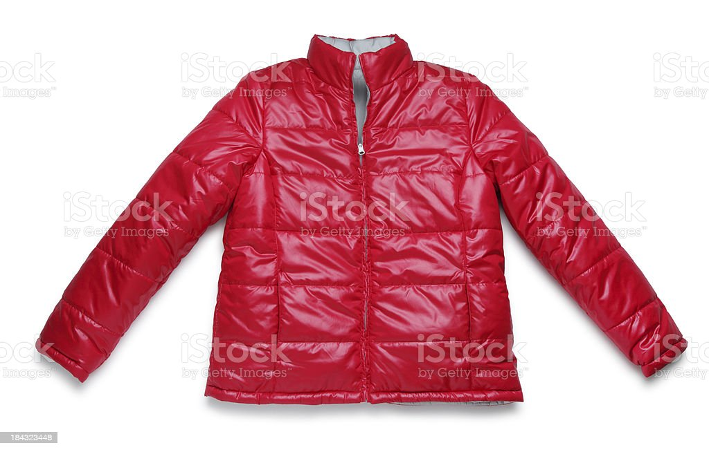 Red Winter Jacket on White royalty-free stock photo