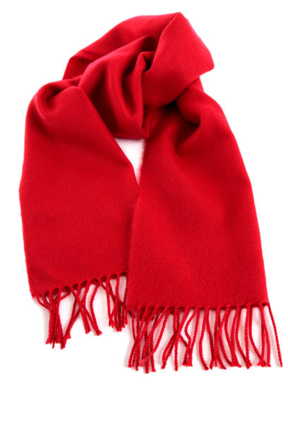 Red winter scarf isolated white background stock photo