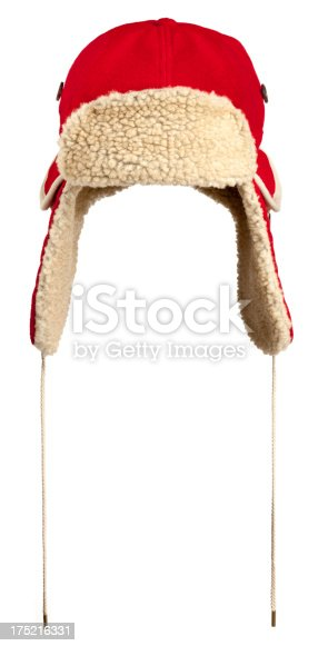 Red wool and Fleece winter hat with ear flaps, known as a Trappers Hat.