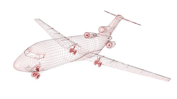 Red wireframed aircraft model stock photo