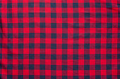 Red with dark blue color texture of checkered fabric