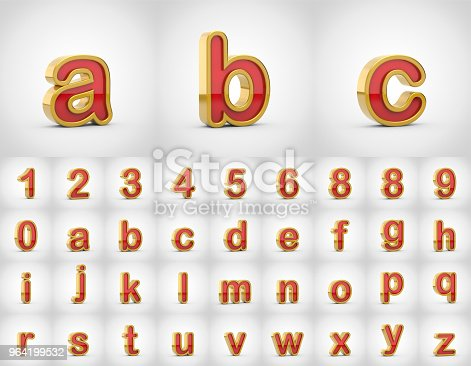 964199358istockphoto Red with gold alphabet letters lowercase isolated on white background. 964199532