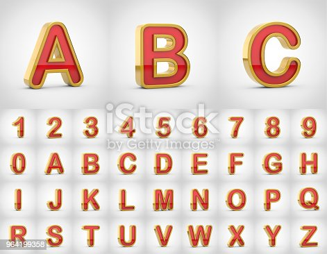 istock Red with gold alphabet letters uppercase isolated on white background. 964199358