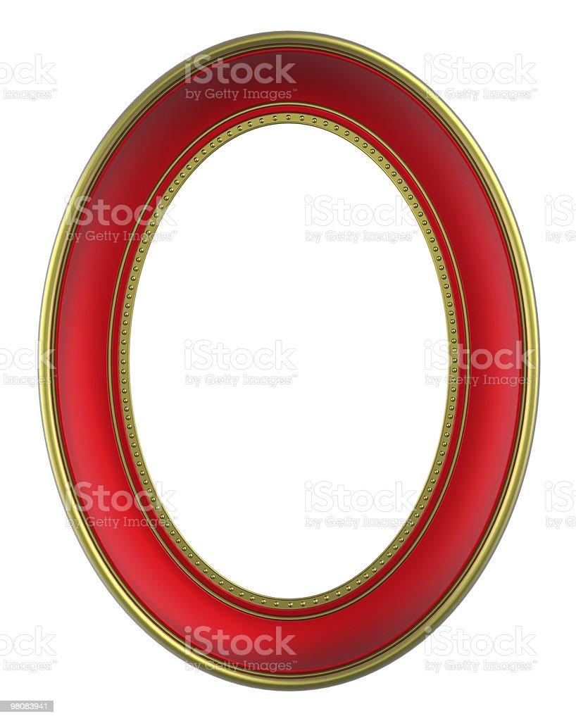 Rosso con montatura in oro isolato su sfondo bianco foto stock royalty-free