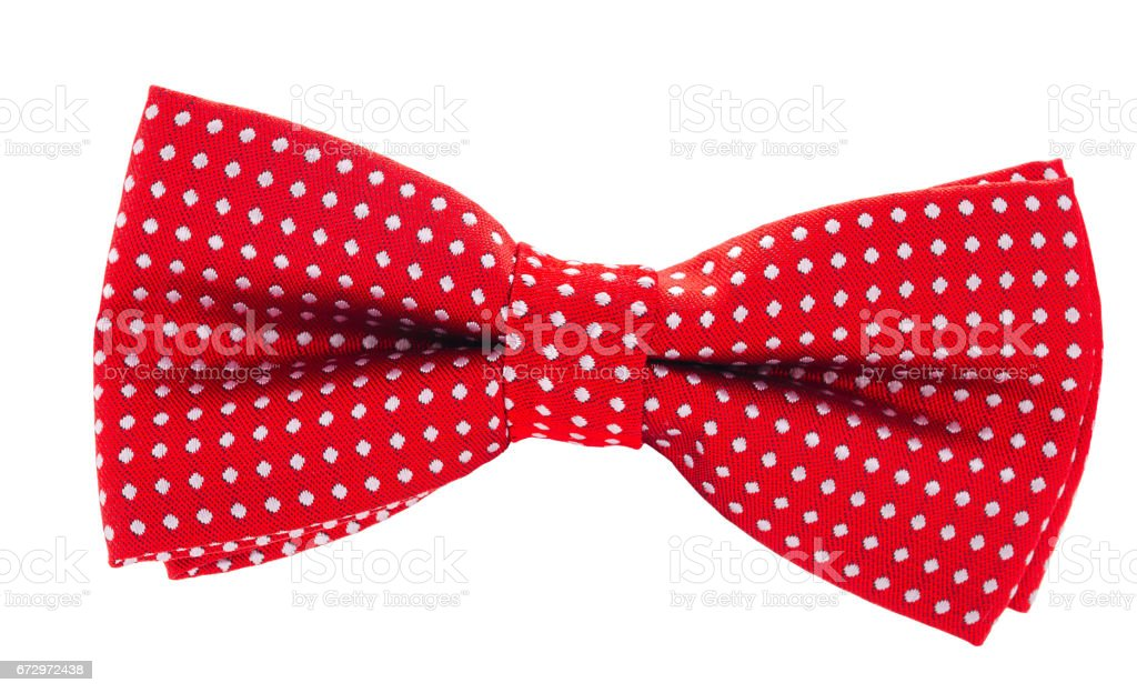 red with white polka dots bow tie stock photo