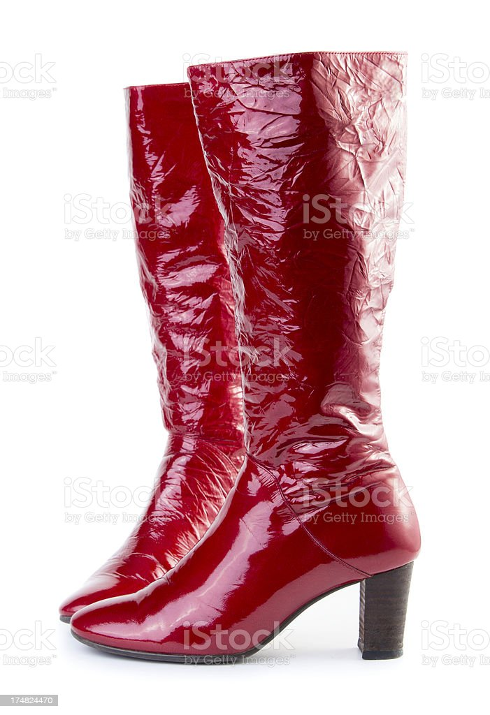 Red woman boots royalty-free stock photo