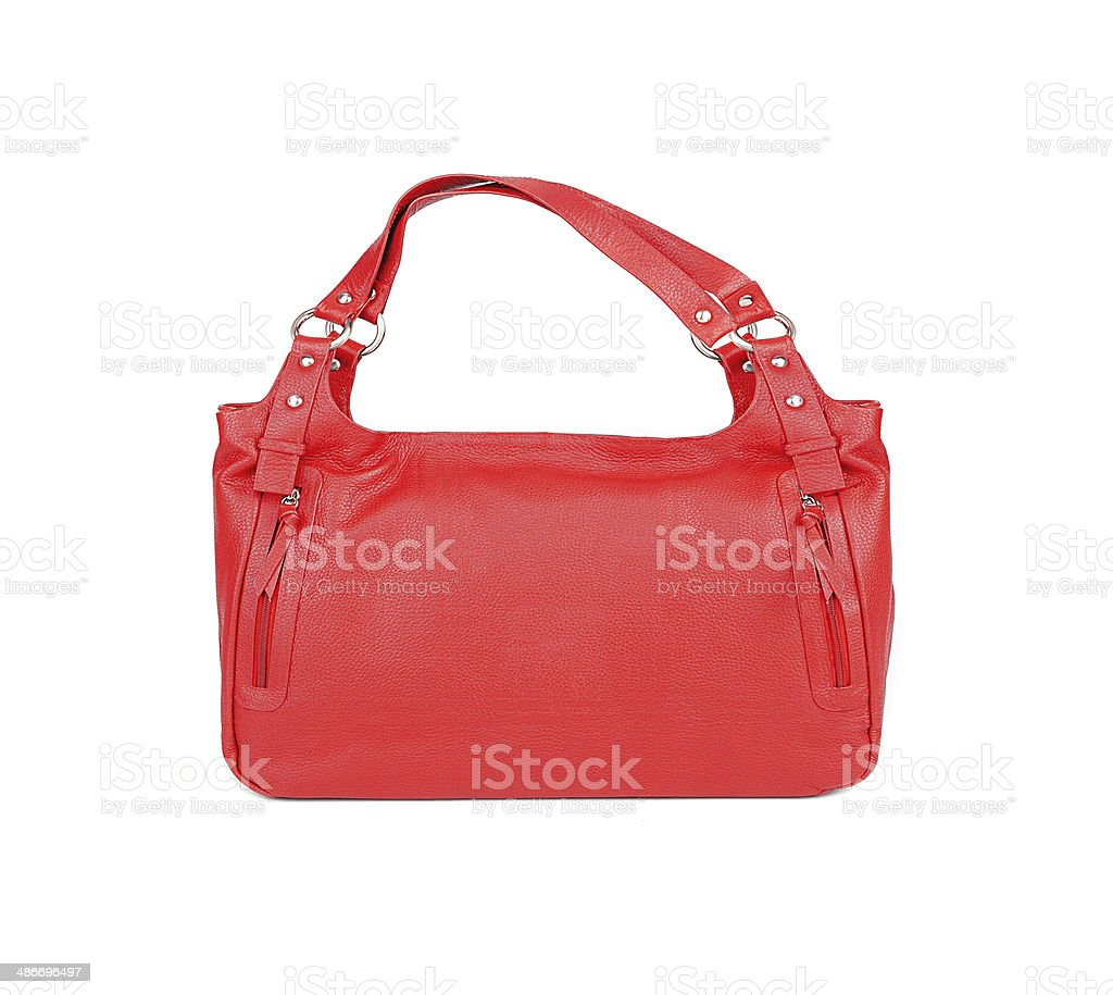 Red women bag isolated on white background stock photo