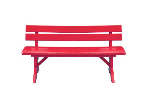 rött trä bänk isolerad på vit bakgrund med urklippsbana. - bench bildbanksfoton och bilder