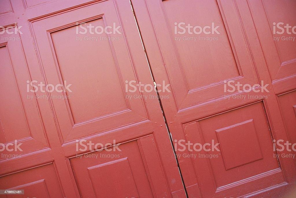 Red wood door background stock photo