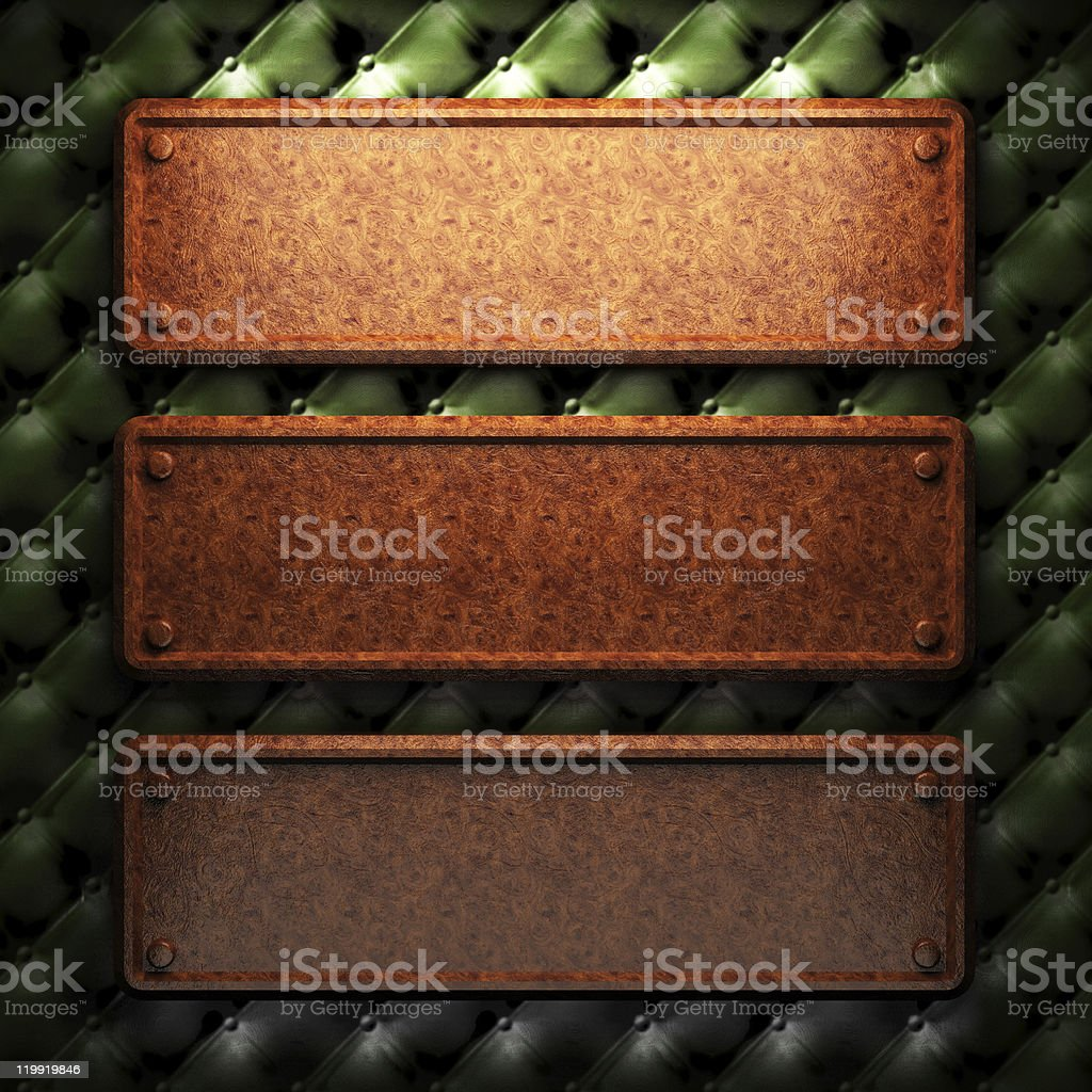red wood plate on leather royalty-free stock photo