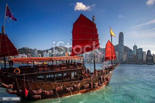 Red wooded boat icon of Hongkong city, red boat for travel Hong kong island, China