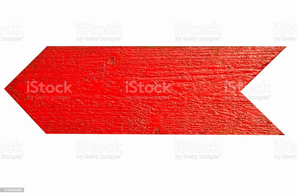 Red wooden arrow​​​ foto