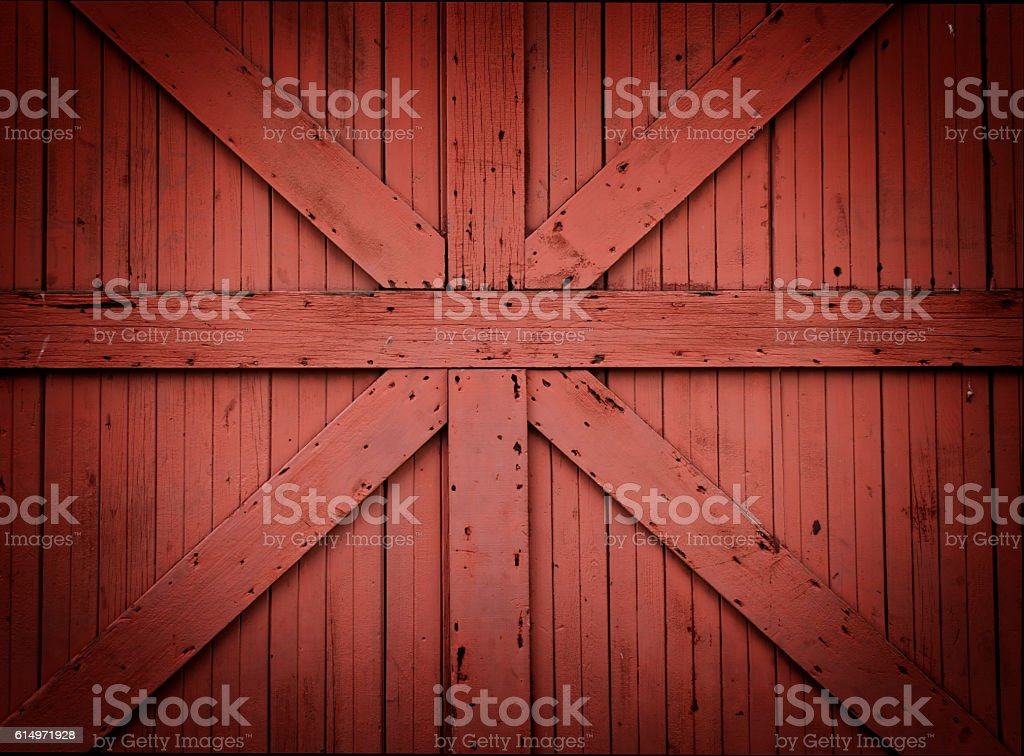 Red Wooden Barn Door stock photo