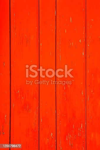 Red wooden boards background, bright color full frame vertical view.