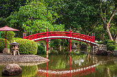 Jurong East, Singapore - January 15, 2015: a red wooden bridge at the Japanese Garden inside the Chinese Garden in Jurong East, Singapore.