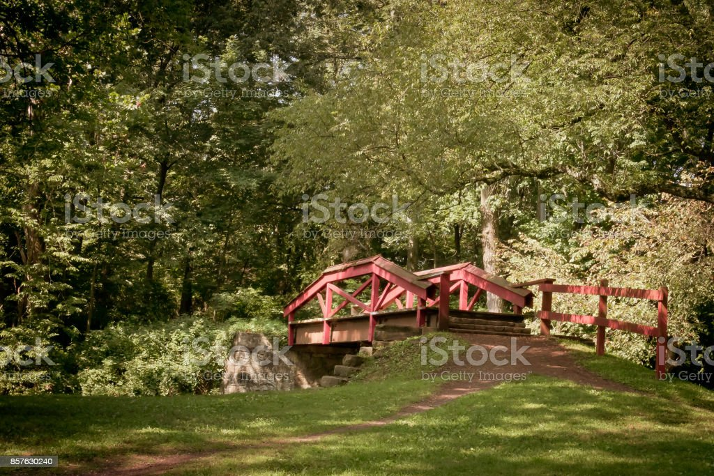 Red wooden bridge in a peaceful park stock photo