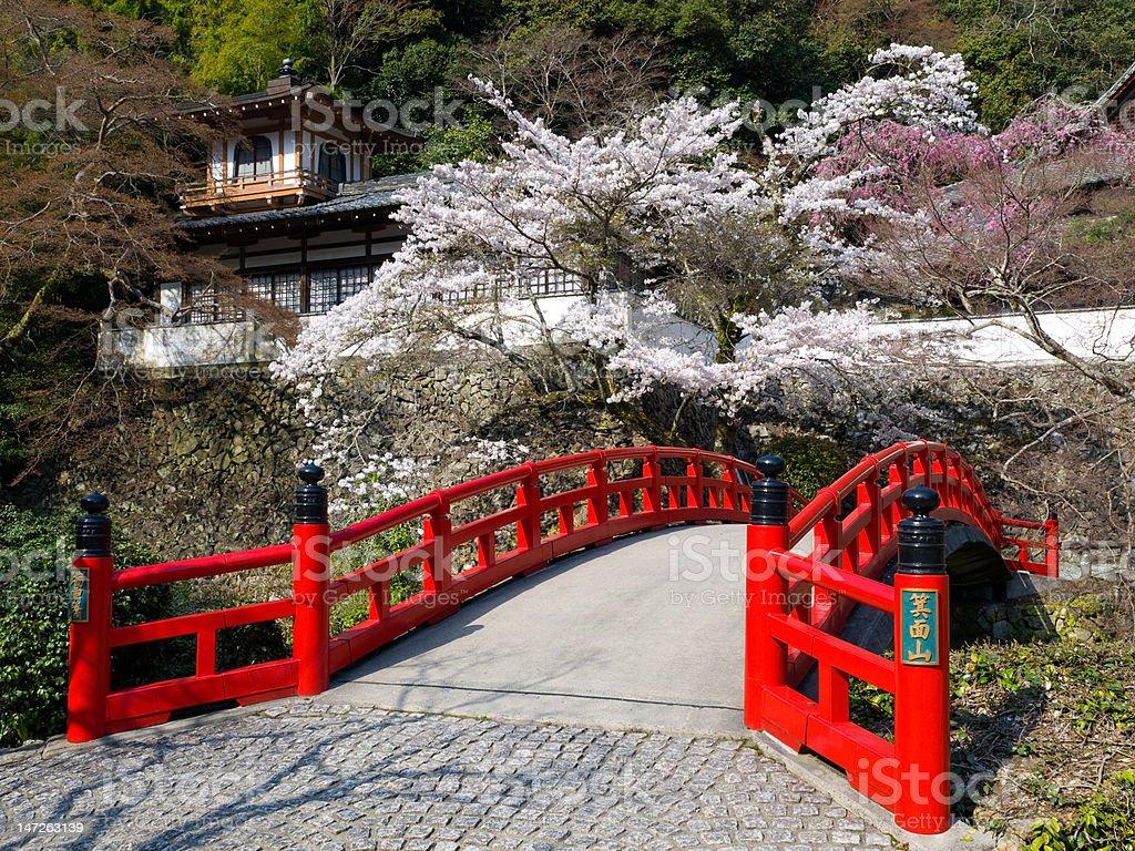 Red wooden bridge near Minoh waterfall royalty-free stock photo