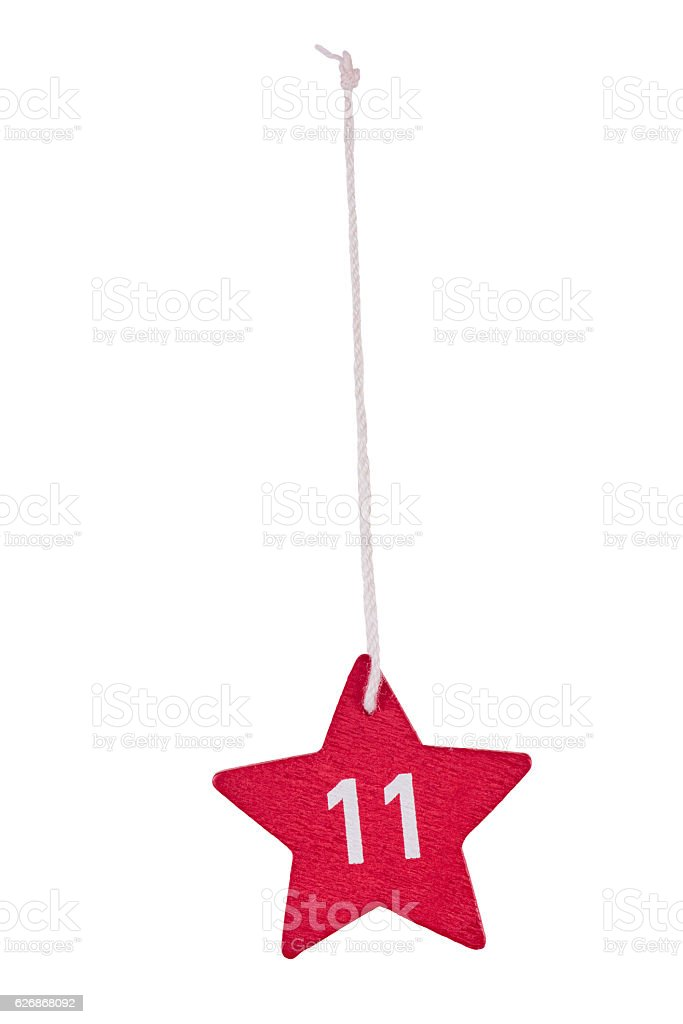 Red wooden Christmas star white number 11 string clipping path stock photo
