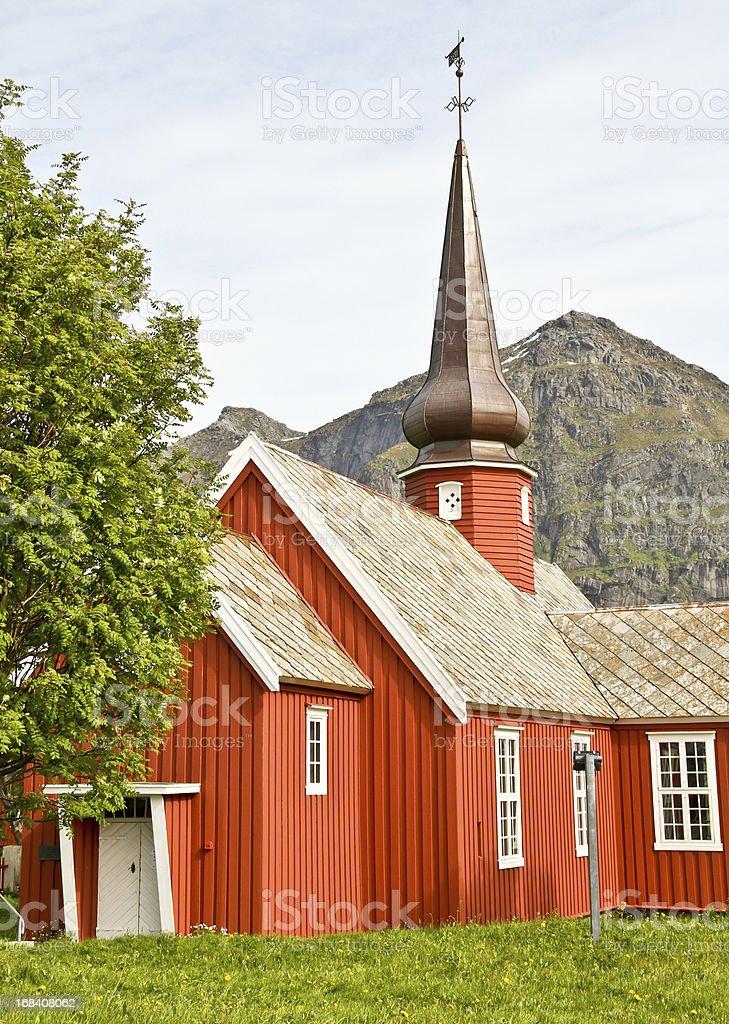 Red Wooden Church Lofoten Norway royalty-free stock photo