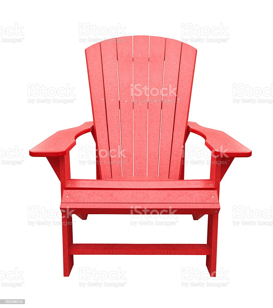 Red wooden deck chair isolated on white background stock photo
