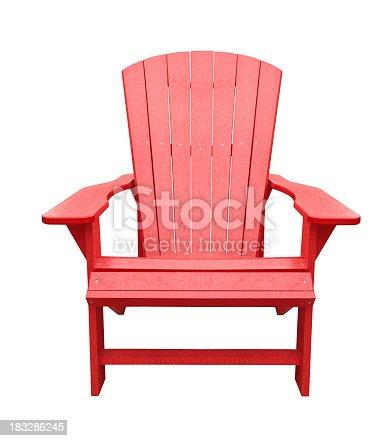 Red Wooden Deck Chair Isolated On White Background Stock